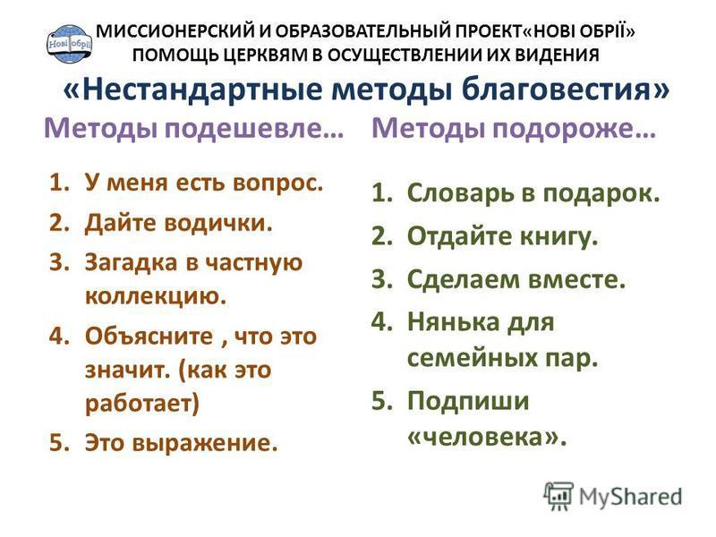 Методы подешевле… 1. У меня есть вопрос. 2. Дайте водички. 3. Загадка в частную коллекцию. 4.Объясните, что это значит. (как это работает) 5. Это выражение. Методы подороже… 1. Словарь в подарок. 2. Отдайте книгу. 3. Сделаем вместе. 4. Нянька для сем