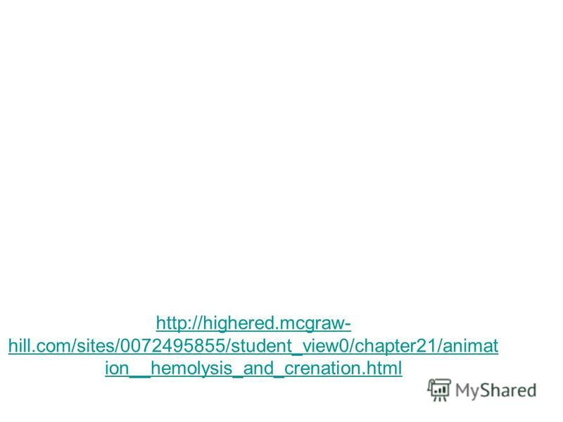 http://highered.mcgraw- hill.com/sites/0072495855/student_view0/chapter21/animat ion__hemolysis_and_crenation.html