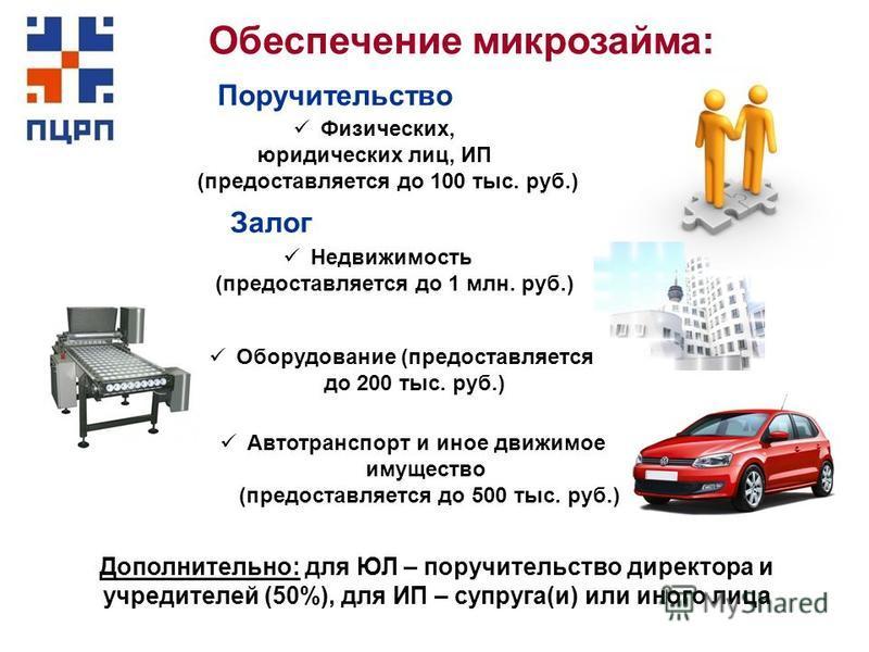 Обеспечение микрозайма: Поручительство Недвижимость (предоставляется до 1 млн. руб.) Оборудование (предоставляется до 200 тыс. руб.) Автотранспорт и иное движимое имущество (предоставляется до 500 тыс. руб.) Физических, юридических лиц, ИП (предостав