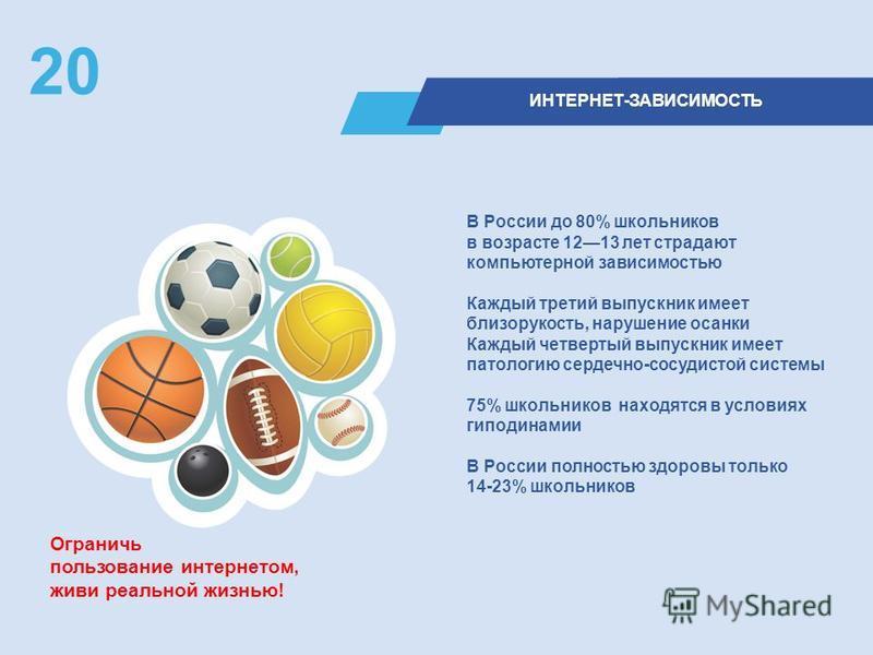 ИНТЕРНЕТ-ЗАВИСИМОСТЬ 20 В России до 80% школьников в возрасте 1213 лет страдают компьютерной зависимостью Каждый третий выпускник имеет близорукость, нарушение осанки Каждый четвертый выпускник имеет патологию сердечно-сосудистой системы 75% школьник