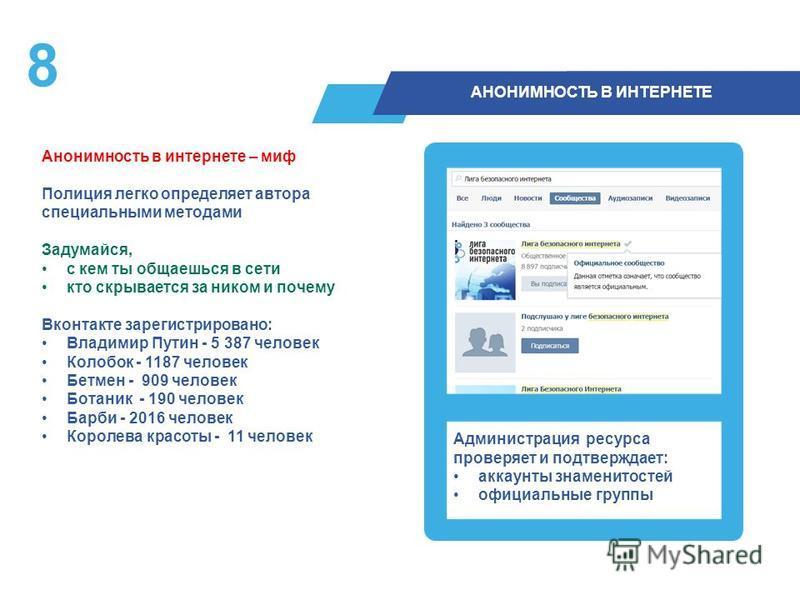 8 АНОНИМНОСТЬ В ИНТЕРНЕТЕ Анонимность в интернете – миф Полиция легко определяет автора специальными методами Задумайся, с кем ты общаешься в сети кто скрывается за ником и почему Вконтакте зарегистрировано: Владимир Путин - 5 387 человек Колобок - 1