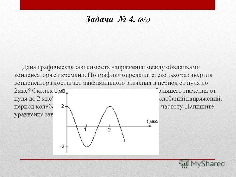 Задача 4. (д/з) Дана графическая зависимость напряжения между обкладками конденсатора от времени. По графику определите: сколько раз энергия конденсатора достигает максимального значения в период от нуля до 2 мкс? Сколько раз энергия катушки достигае