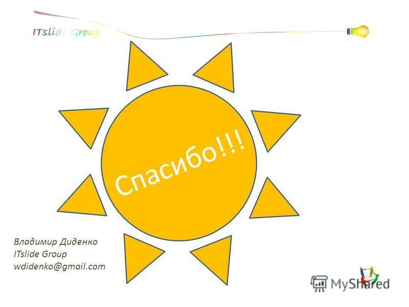 Владимир Диденко ITslide Group wdidenko@gmail.com Спасибо!!!