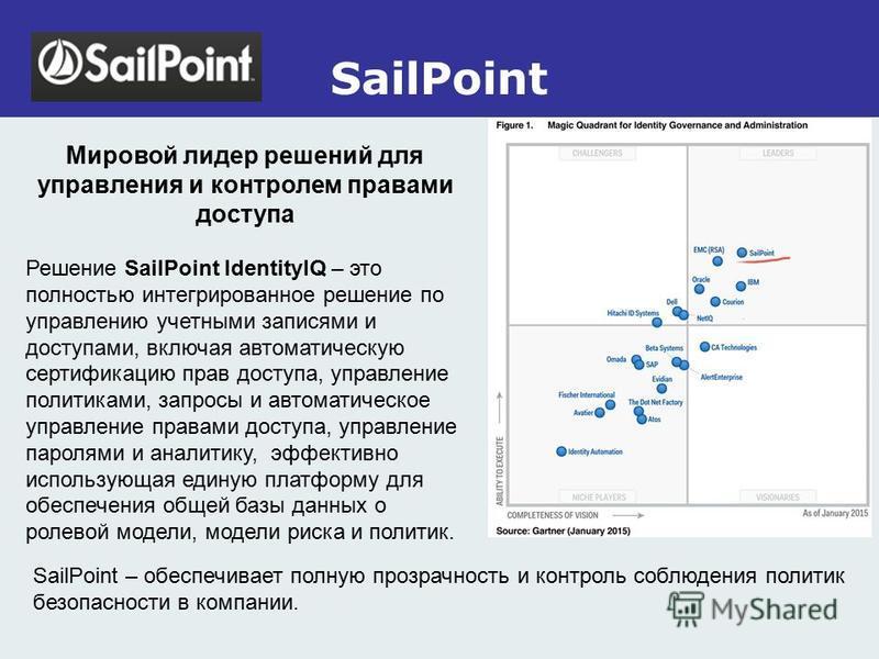 SailPoint Мировой лидер решений для управления и контролем правами доступа Решение SailPoint IdentityIQ – это полностью интегрированное решение по управлению учетными записями и доступами, включая автоматическую сертификацию прав доступа, управление