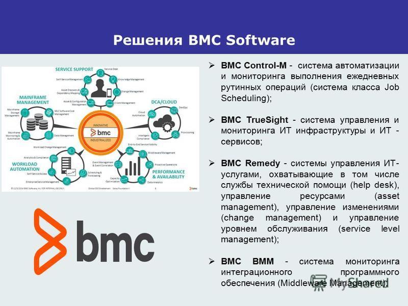 Решения BMC Software BMC Control-M - система автоматизации и мониторинга выполнения ежедневных рутинных операций (система класса Job Scheduling); BMC TrueSight - система управления и мониторинга ИТ инфраструктуры и ИТ - сервисов; BMC Remedy - системы