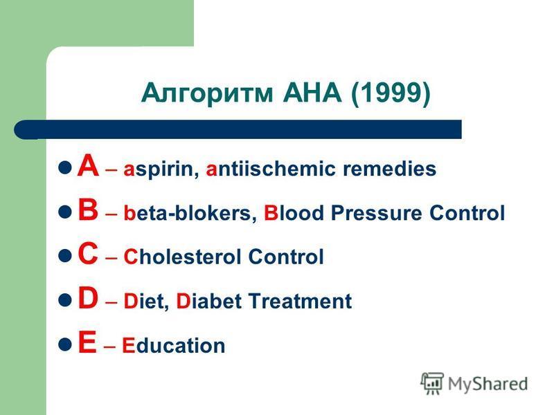 Алгоритм АНА (1999) A – aspirin, antiischemic remedies B – beta-blokers, Blood Pressure Control C – Cholesterol Control D – Diet, Diabet Treatment E – Education