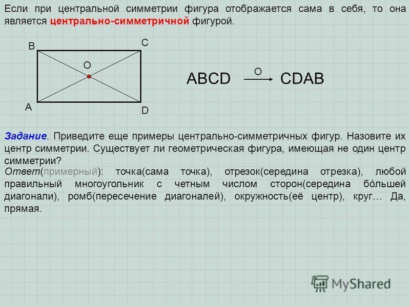 Если при центральной симметрии фигура отображается сама в себя, то она является центрально-симметричной фигурой. A B C D O ABCDСDAB O Задание. Приведите еще примеры центрально-симметричных фигур. Назовите их центр симметрии. Существует ли геометричес