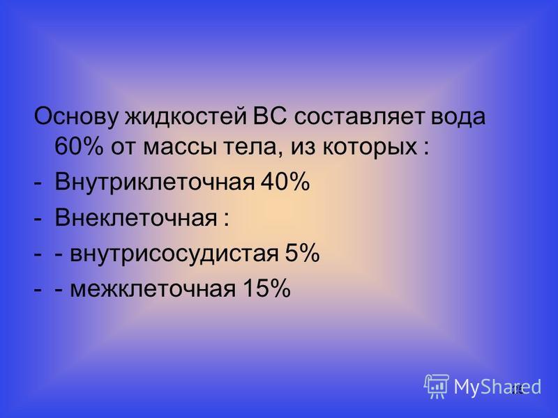 25 Основу жидкостей ВС составляет вода 60% от массы тела, из которых : -Внутриклеточная 40% -Внеклеточная : -- внутрисосудистая 5% -- межклеточная 15%