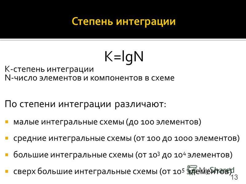 K=lgN K-степень интеграции N-число элементов и компонентов в схеме По степени интеграции различают: малые интегральные схемы (до 100 элементов) средние интегральные схемы (от 100 до 1000 элементов) большие интегральные схемы (от 10 3 до 10 4 элементо