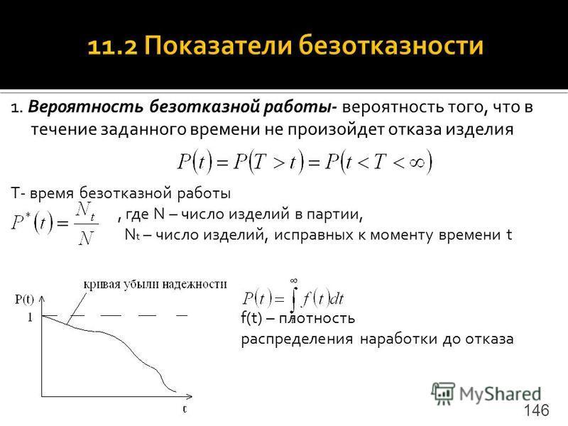 1. Вероятность безотказной работы- вероятность того, что в течение заданного времени не произойдет отказа изделия T- время безотказной работы, где N – число изделий в партии, N t – число изделий, исправных к моменту времени t f(t) – плотность распред