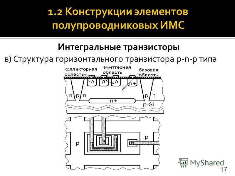 Интегральные транзисторы в) Структура горизонтального транзистора p-n-p типа 17