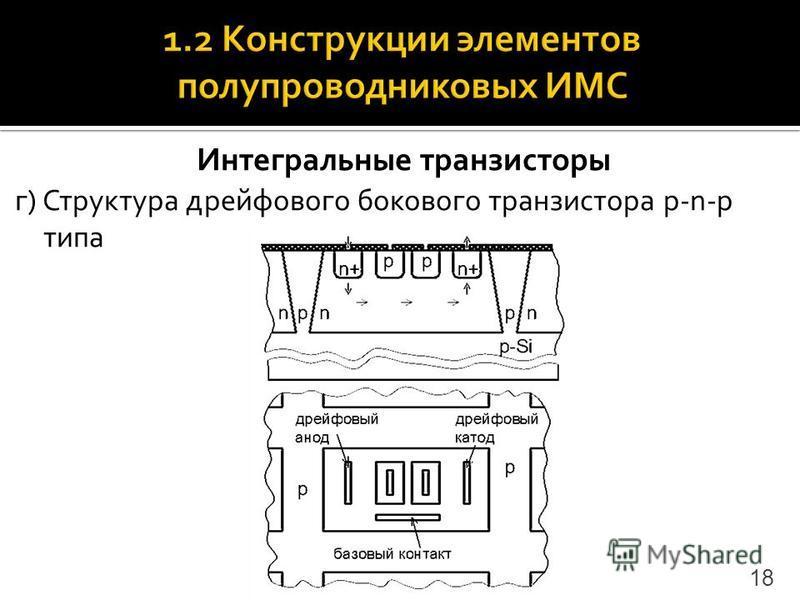 Интегральные транзисторы г) Структура дрейфового бокового транзистора p-n-p типа 18
