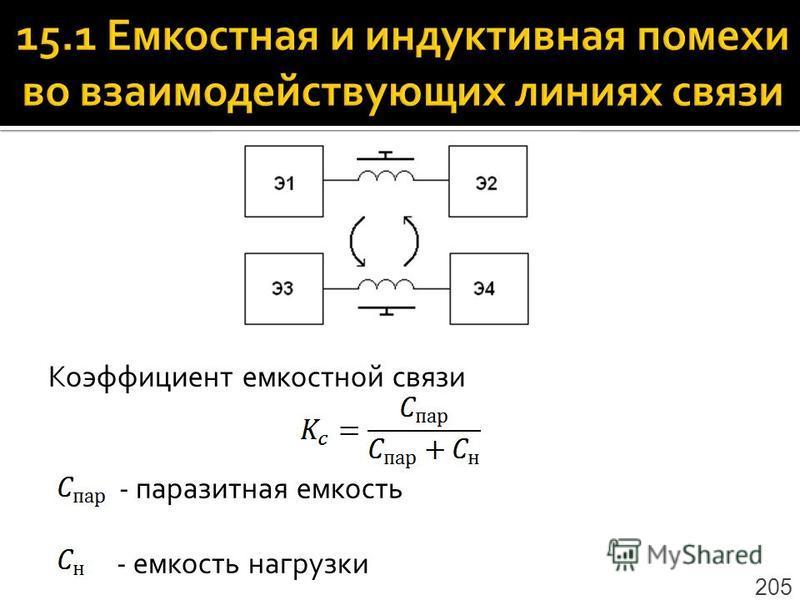 Коэффициент емкостной связи - паразитная емкость - емкость нагрузки 205