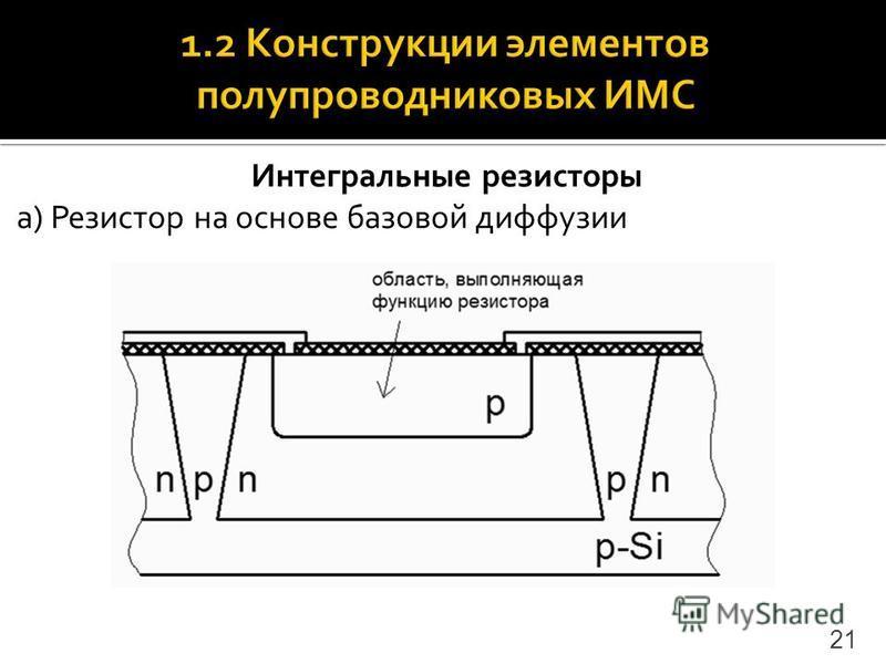 Интегральные резисторы а) Резистор на основе базовой диффузии 21