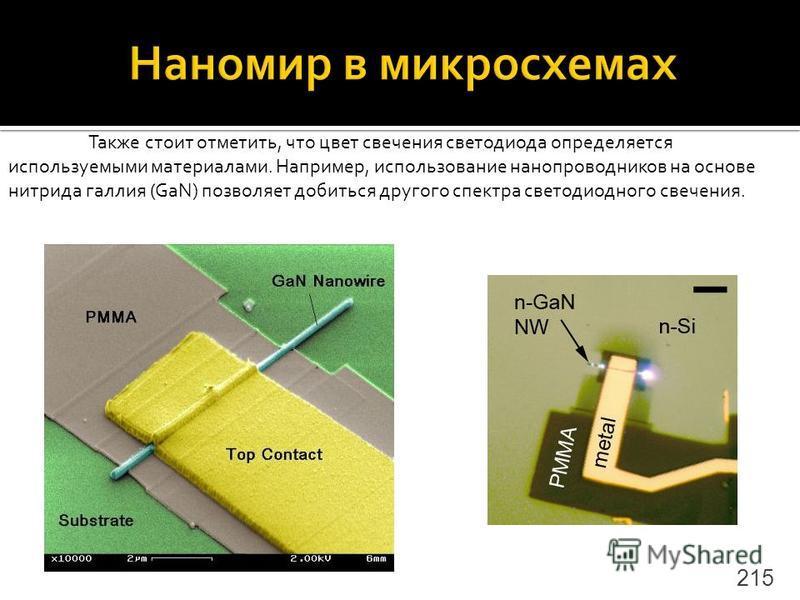 215 Также стоит отметить, что цвет свечения светодиода определяется используемыми материалами. Например, использование нанопроводников на основе нитрида галлия (GaN) позволяет добиться другого спектра светодиодного свечения.
