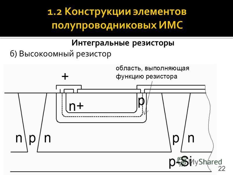 Интегральные резисторы б) Высокоомный резистор 22