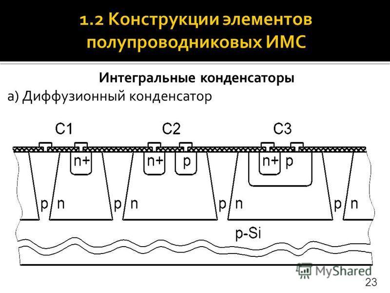 Интегральные конденсаторы а) Диффузионный конденсатор 23