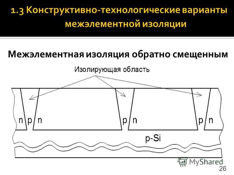 Межэлементная изоляция обратно смещенным p-n-переходом 26
