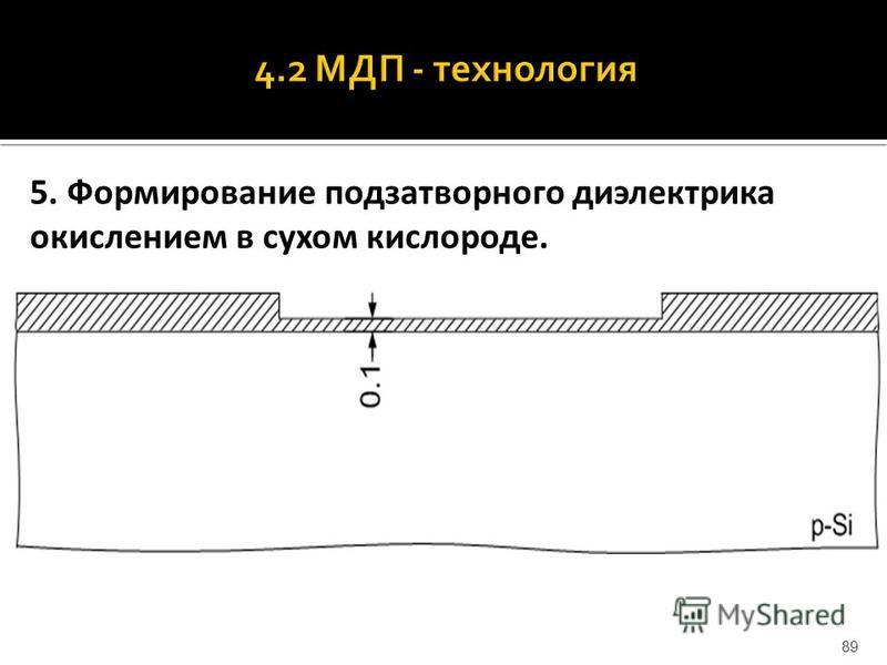5. Формирование подзатворного диэлектрика окислением в сухом кислороде. 89