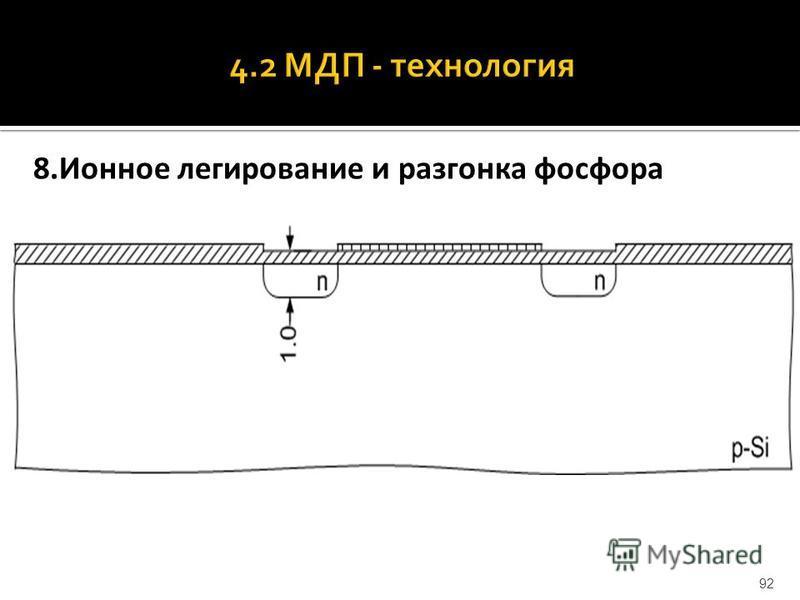 8. Ионное легирование и разгонка фосфора 92