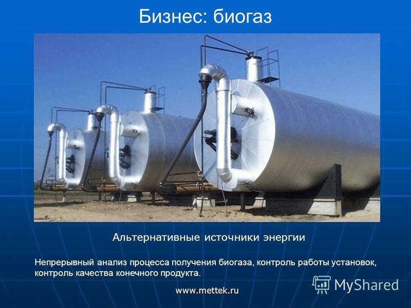 Бизнес: биогазwww.mettek.ru Альтернативные источники энергии Непрерывный анализ процесса получения биогаза, контроль работы установок, контроль качества конечного продукта.