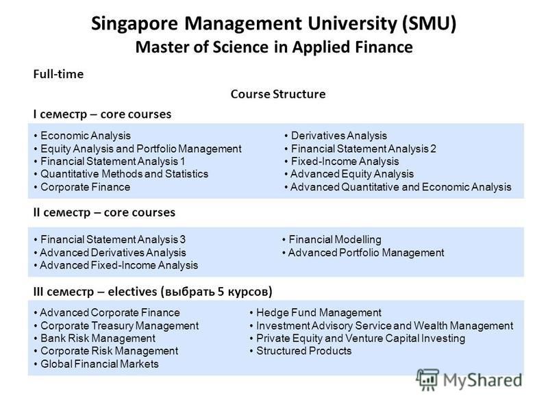 Singapore Management University (SMU) Master of Science in Applied Finance Full-time Course Structure I семестр – core courses II семестр – core courses III семестр – electives (выбрать 5 курсов) Economic Analysis Equity Analysis and Portfolio Manage