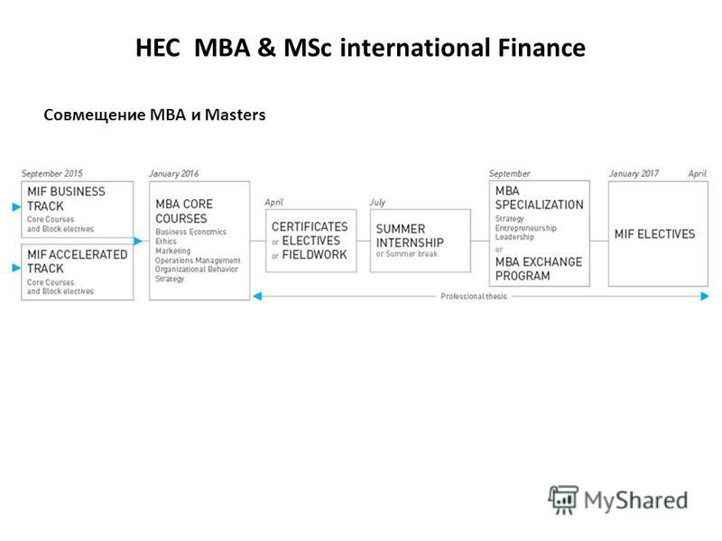 HEC MBA & MSc international Finance Совмещение МВА и Masters