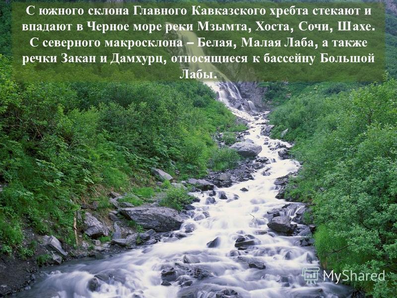 С южного склона Главного Кавказского хребта стекают и впадают в Черное море реки Мзымта, Хоста, Сочи, Шахе. С северного макрос клона – Белая, Малая Лаба, а также речки Закан и Дамхурц, относящиеся к бассейну Большой Лабы.