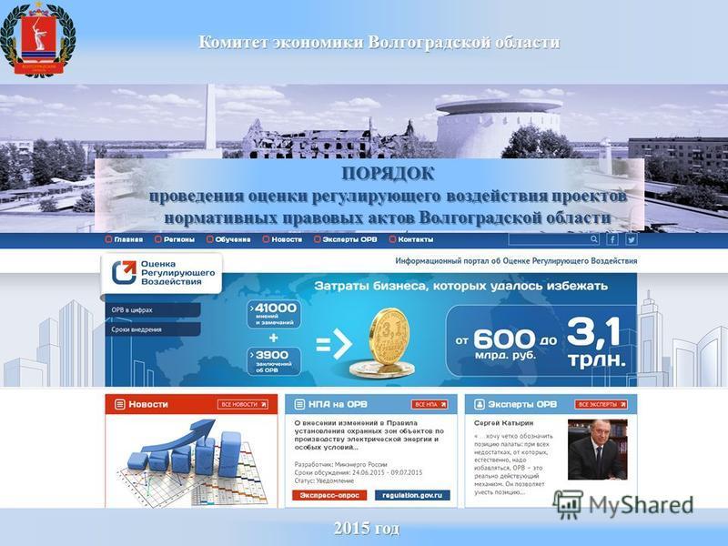 2015 год 2015 год Комитет экономики Волгоградской области ПОРЯДОК проведения оценки регулирующего воздействия проектов нормативных правовых актов Волгоградской области