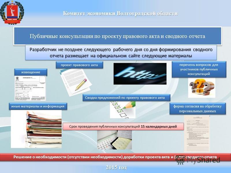 2015 год 2015 год Комитет экономики Волгоградской области Публичные консультации по проекту правового акта и сводного отчета Разработчик не позднее следующего рабочего дня со дня формирования сводного отчета размещает на официальном сайте следующие м