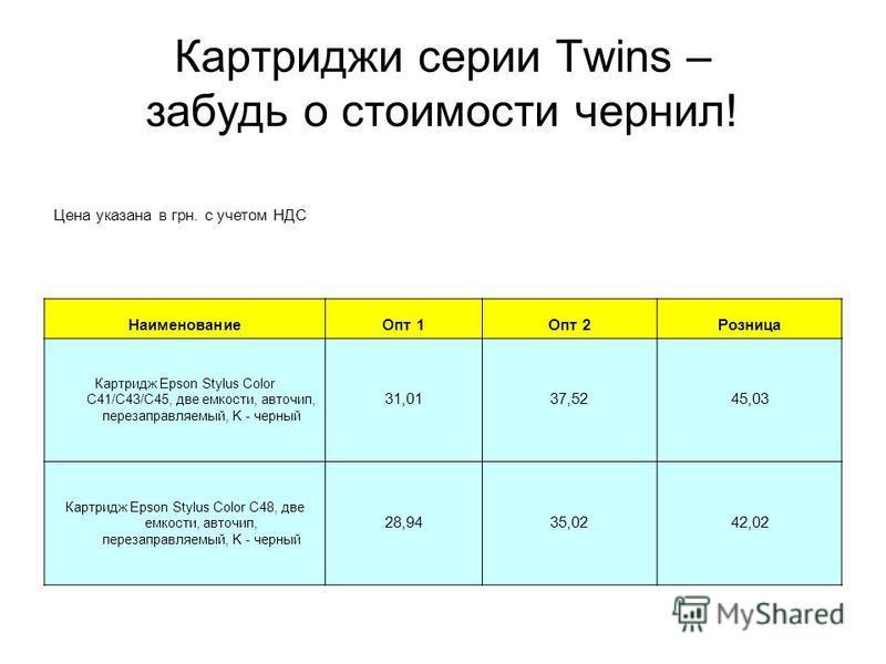Картриджи серии Twins – забудь о стоимости чернил! Цена указана в грн. с учетом НДС Наименование Опт 1Опт 2Розница Картридж Epson Stylus Color C41/C43/C45, две емкости, авточип, перезаправляемый, K - черный 31,0137,5245,03 Картридж Epson Stylus Color