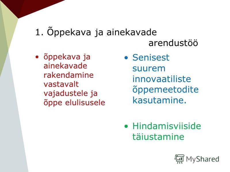 1. Õppekava ja ainekavade arendustöö õppekava ja ainekavade rakendamine vastavalt vajadustele ja õppe elulisusele Senisest suurem innovaatiliste õppemeetodite kasutamine. Hindamisviiside täiustamine
