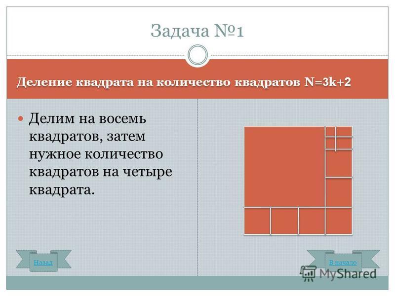 Деление квадрата на количество квадратов N= 3 k+ 2 Делим на восемь квадратов, затем нужное количество квадратов на четыре квадрата. Задача 1 Назад В начало