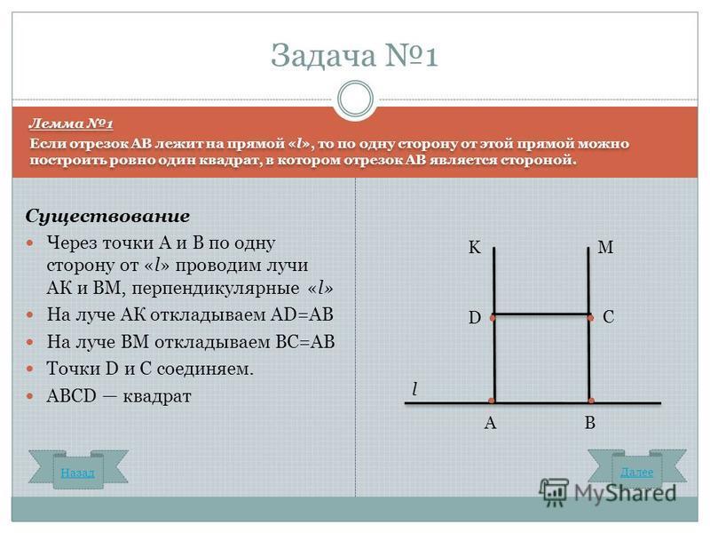 Лемма 1 Если отрезок AB лежит на прямой «l», то по одну сторону от этой прямой можно построить ровно один квадрат, в котором отрезок АВ является стороной. Лемма 1 Если отрезок AB лежит на прямой «l», то по одну сторону от этой прямой можно построить