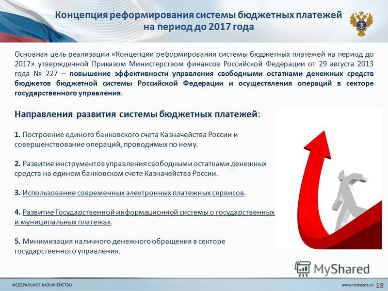 18 Концепция реформирования системы бюджетных платежей на период до 2017 года Направления развития системы бюджетных платежей: 1. Построение единого банковского счета Казначейства России и совершенствование операций, проводимых по нему. 2. Развитие и