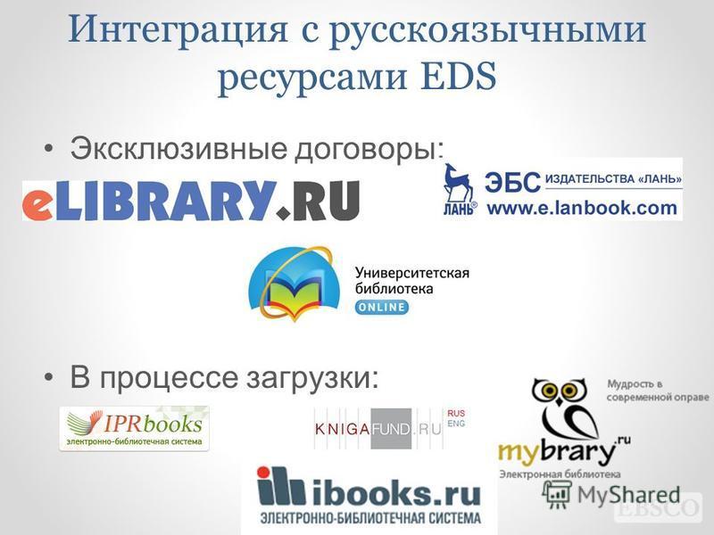 Интеграция с русскоязычными ресурсами EDS Эксклюзивные договоры: В процессе загрузки: