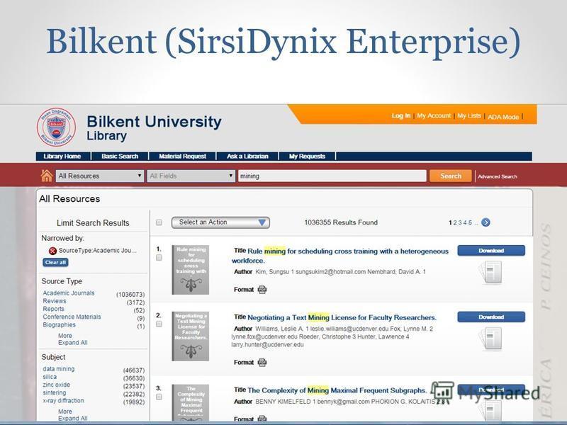 Bilkent (SirsiDynix Enterprise)