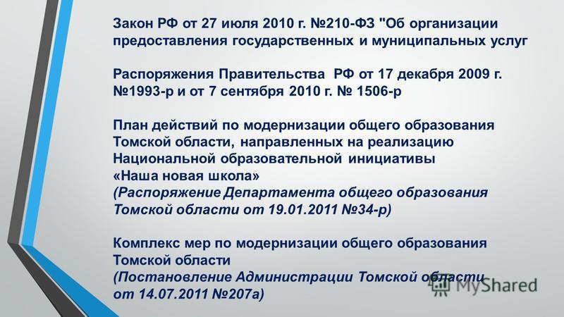 Закон РФ от 27 июля 2010 г. 210-ФЗ
