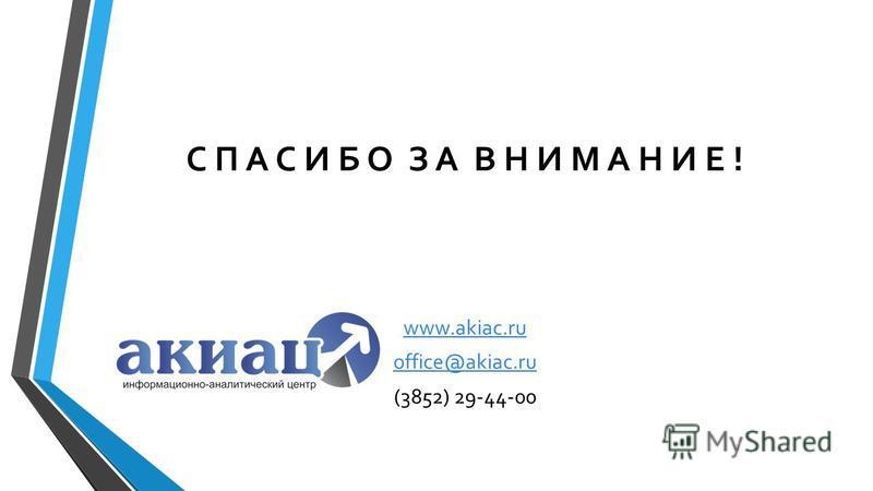 С П А С И Б О З А В Н И М А Н И Е ! www.akiac.ru office@akiac.ru (3852) 29-44-00