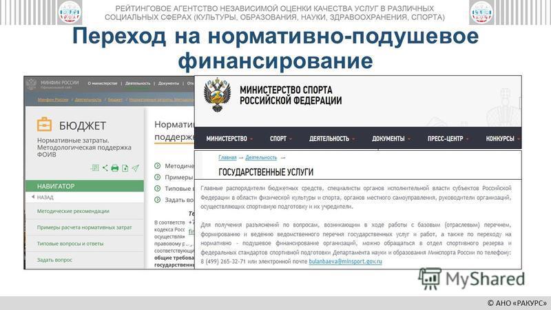 © АНО «РАКУРС» Переход на нормативно-подушевое финансирование