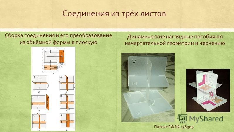 Соединения из трёх листов Динамические наглядные пособия по начертательной геометрии и черчению Патент РФ 136909 Сборка соединения и его преобразование из объёмной формы в плоскую