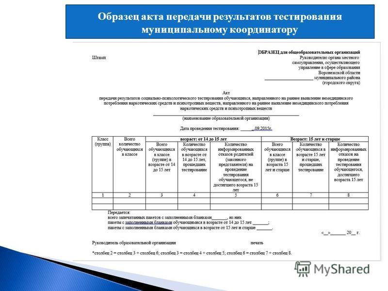 Образец акта передачи результатов тестирования муниципальному координатору