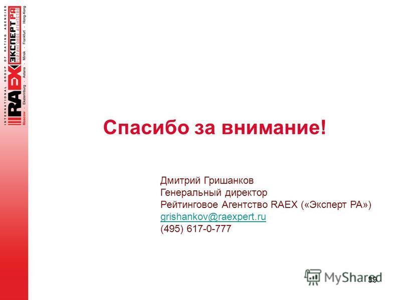 39 Дмитрий Гришанков Генеральный директор Рейтинговое Агентство RAEX («Эксперт РА») grishankov@raexpert.ru (495) 617-0-777 Спасибо за внимание!