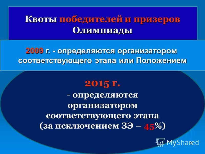 26 Квоты победителей и призеров Олимпиады 2015 г. - определяются организатором соответствующего этапа (за исключением ЗЭ – 45%) 2009 г. - определяются организатором соответствующего этапа или Положением
