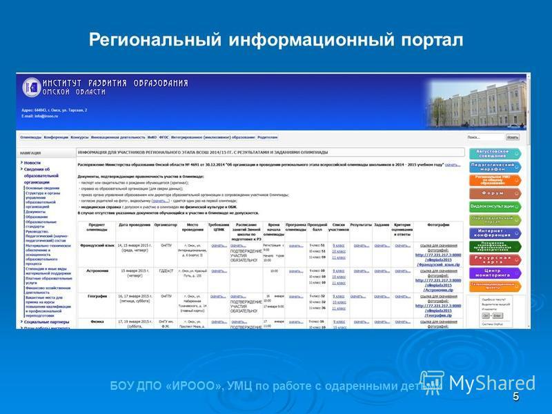 5 Региональный информационный портал БОУ ДПО «ИРООО», УМЦ по работе с одаренными детьми