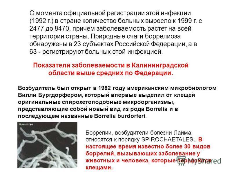 С момента официальной регистрации этой инфекции (1992 г.) в стране количество больных выросло к 1999 г. с 2477 до 8470, причем заболеваемость растет на всей территории страны. Природные очаги боррелиоза обнаружены в 23 субъектах Российской Федерации,
