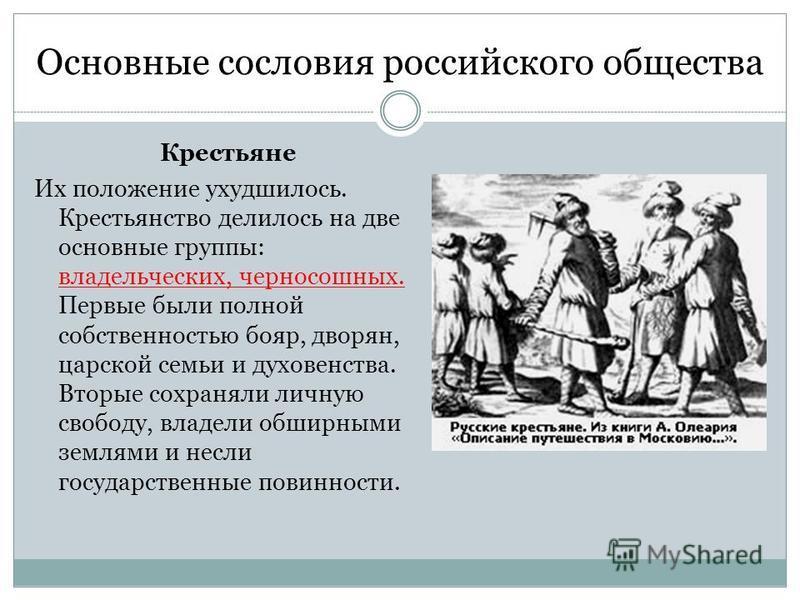Основные сословия российского общества Крестьяне Их положение ухудшилось. Крестьянство делилось на две основные группы: владельческих, черносошных. Первые были полной собственностью бояр, дворян, царской семьи и духовенства. Вторые сохраняли личную с