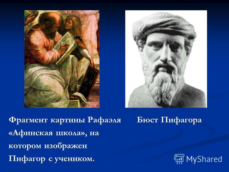 Фрагмент картины Рафаэля Бюст Пифагора «Афинская школа», на котором изображен Пифагор с учеником.