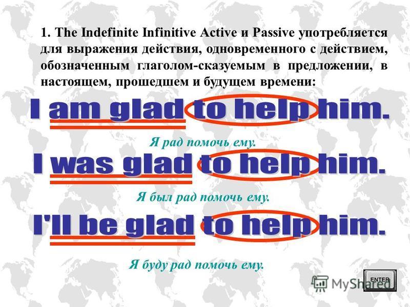 Инфинитив представляет основу глагола, которой обычно предшествует частица to, и относится к неличным формам глагола. В Английском языке существуют следующие формы инфинитива: ВИДACTIVEPASSIVE ВЫРАЖЕНИЕ ДЕЙСТВИЯ Indefinite to write to work to be writ