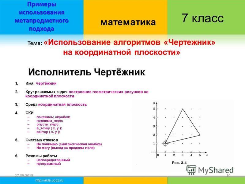 Примеры использования метапредметного подхода 27.09.201510 Тема: « Использование алгоритмов «Чертежник» на координатной плоскости» математика 7 класс
